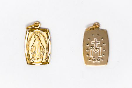 Rectangular Miraculous Medal.