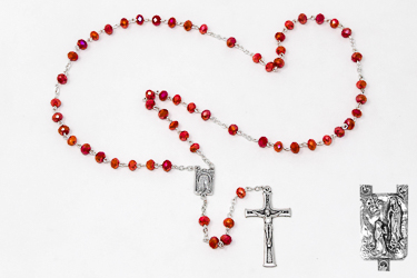 Red Crystal Rosary Beads