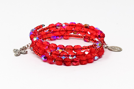 Red Crystal Memory Wire Rosary Bracelet