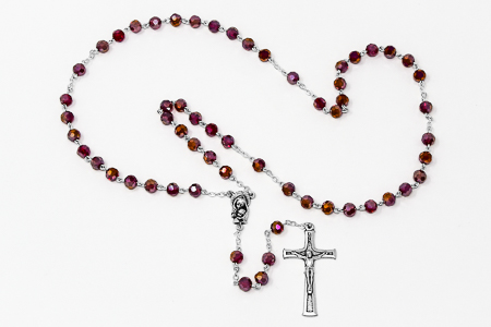 Mary & Baby Jesus Red Rosary Beads