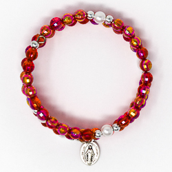 Red Memory Wire Rosary Bracelet