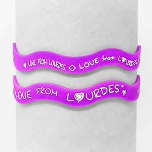 Lourdes Purple Rubber Bracelet.