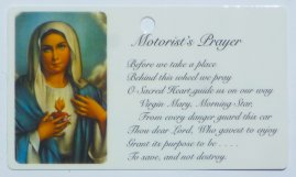 Motorist's Sacred Heart of Mary Prayer Card.