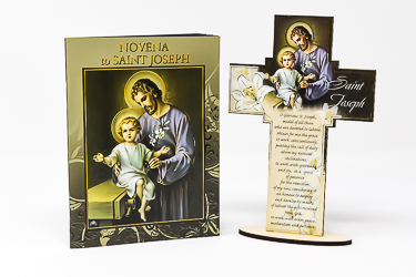 St Joseph Wood Cross & Booklet