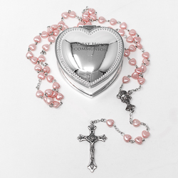Rosary with Heart Communion Rosary Box.