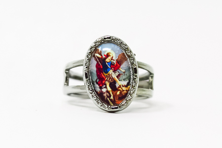 Silver St Michael Adjustable Ring.