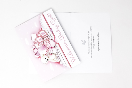 Welcome Card For a Baby Girl.