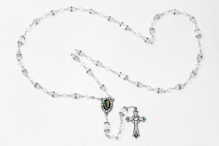 White Crystal Rosary Beads