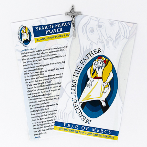 Year of Mercy Prayer Card with Crucifix.